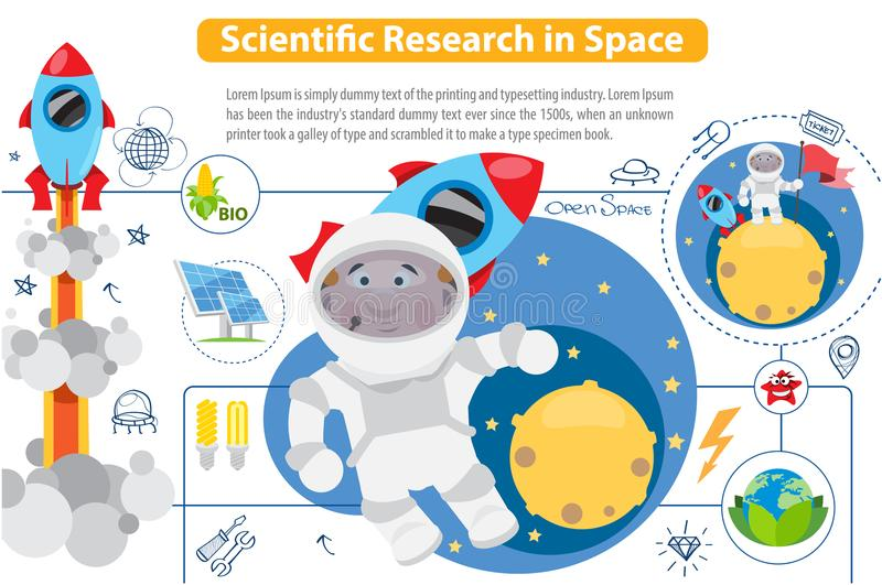 Scientific Research in Space vector illustration