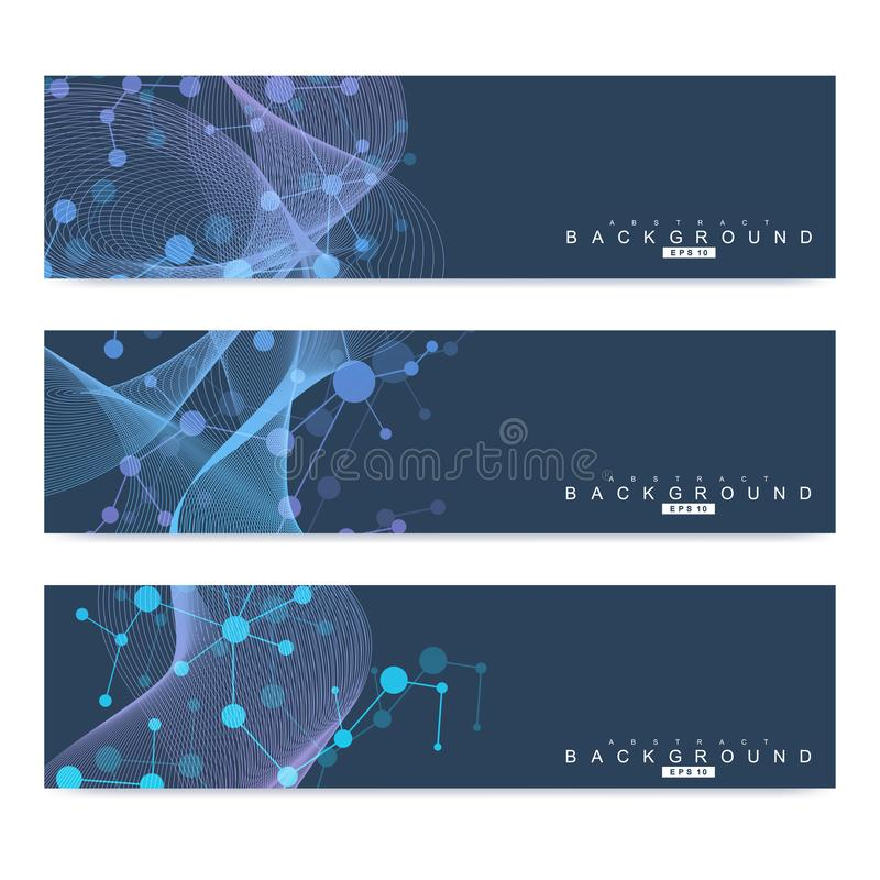 Scientific set of modern vector banners. DNA molecule structure with connected lines and dots. Science vector background. Medical, tecnology, chemistry design stock illustration