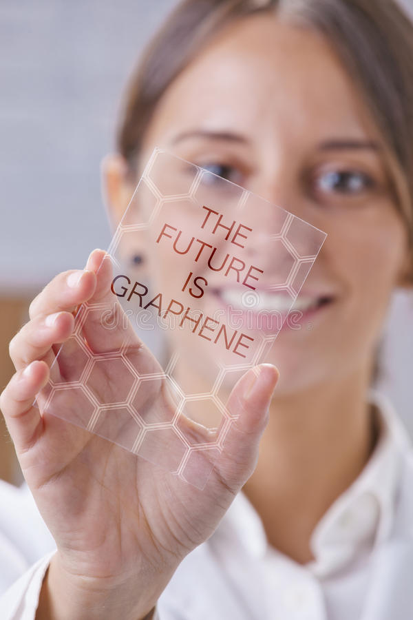 Scientific showing a piece of graphene with hexagonal molecule. Transparent of graphene application stock photo