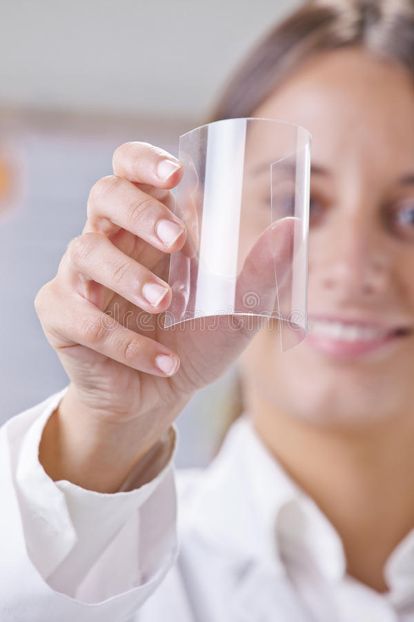 Scientific showing a piece of graphene. Transparent of graphene application stock photo