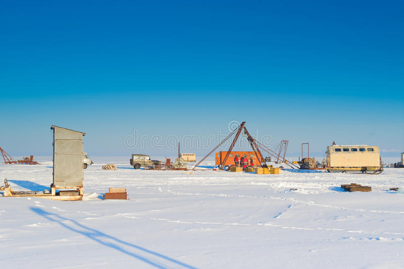 Scientific station. In winter baikal stock images