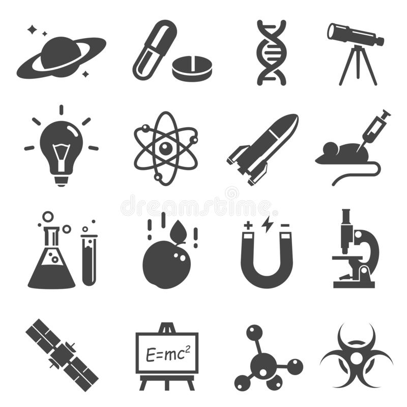 Scientific study and research glyph vector icons set. Space exploration silhouette symbols. Chemistry, physics, biology concepts. Laboratory equipment, tools vector illustration