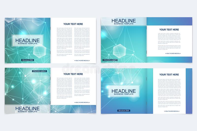 Scientific templates square brochure, magazine, leaflet , flyer, cover, booklet, annual report. Scientific concept for royalty free illustration