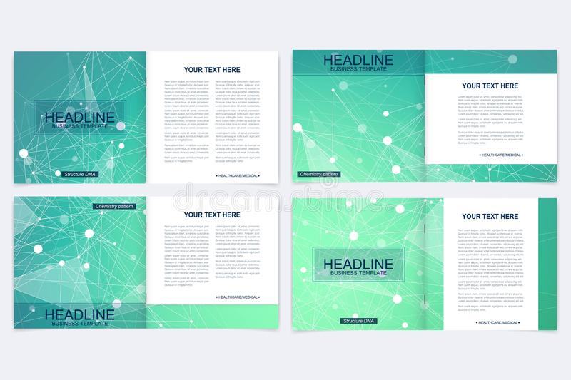 Scientific templates square brochure, magazine, leaflet , flyer, cover, booklet, annual report. Scientific concept for. Medical, technology, chemistry Structure stock illustration