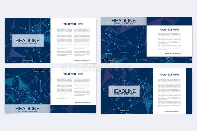 Scientific templates square brochure, magazine, leaflet , flyer, cover, booklet, annual report. Scientific concept for. Medical, technology, chemistry Structure royalty free illustration