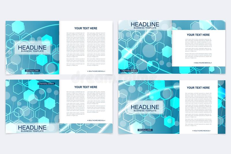Scientific templates square brochure, magazine, leaflet , flyer, cover, booklet, annual report. Scientific concept for. Medical, technology, chemistry Structure vector illustration