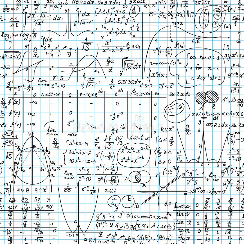 Scientific vector seamless background with math and physics handwritten formulas, plots, tables, figures and calculations. Educational vector background stock illustration