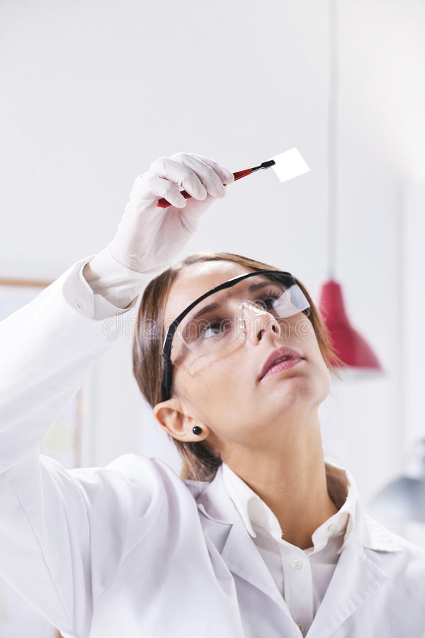 Scientific watching a piece of graphene. Transparent of graphene application royalty free stock image