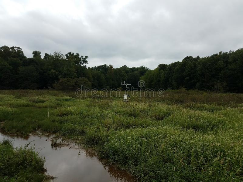 Scientific weather station instrument in wetland environment stock photos
