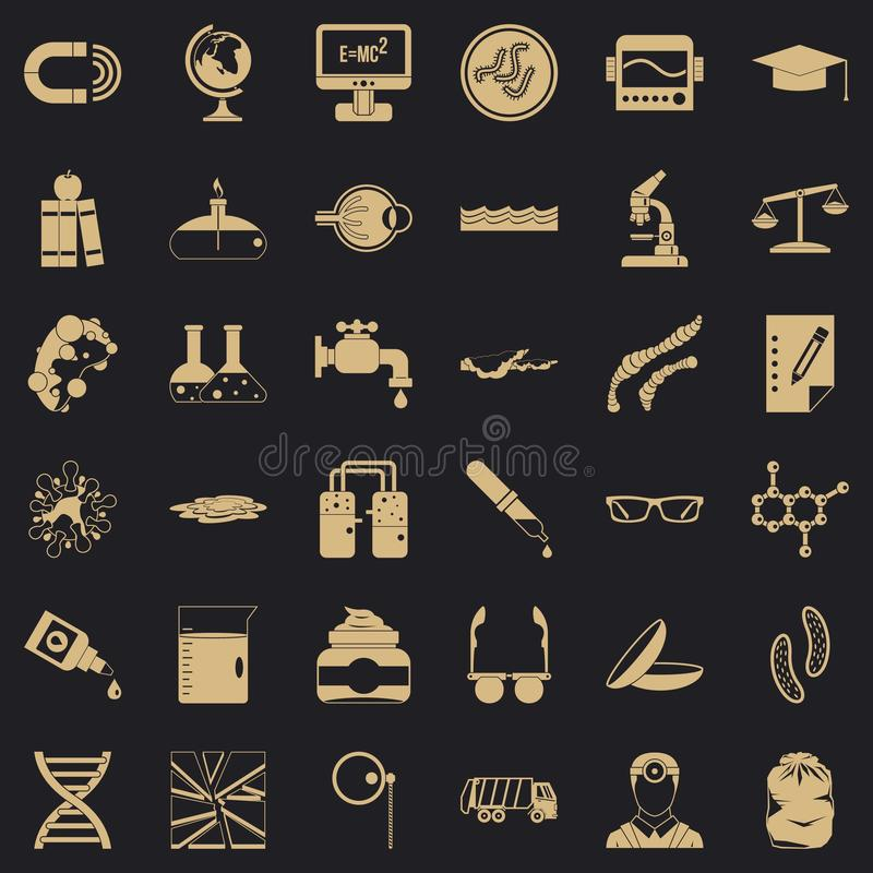 Scientific widget icons set, simple style. Scientific widget icons set. Simple set of 36 scientific widget vector icons for web for any design stock illustration