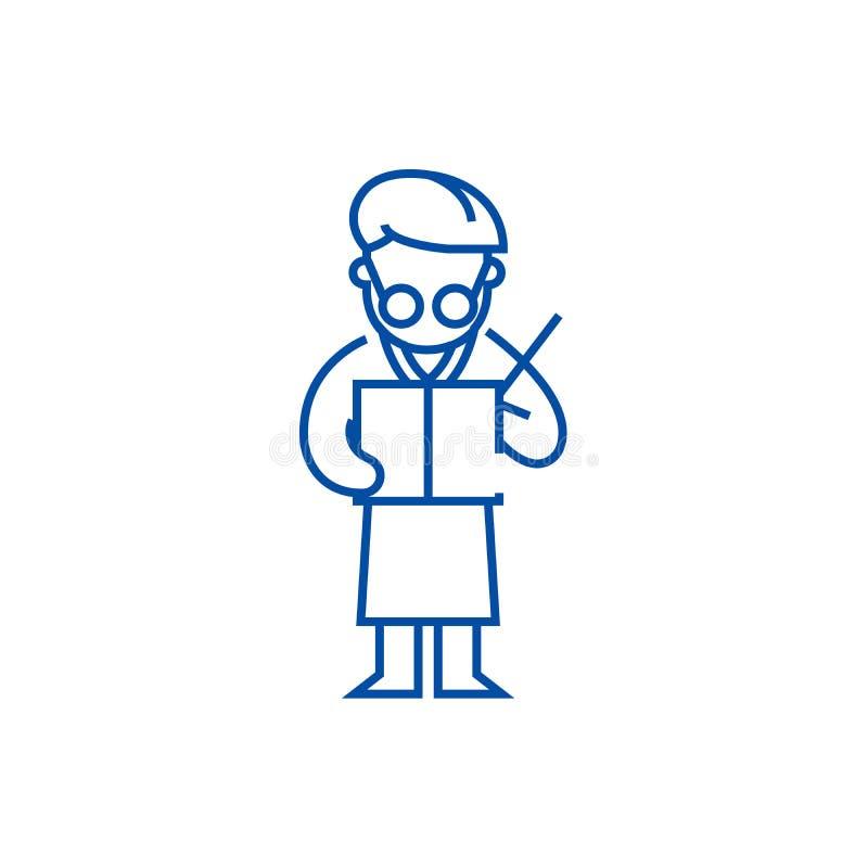 Scientifique écrivant la ligne concept d'icône Scientifique écrivant le symbole plat de vecteur, signe, illustration d'ensemble illustration libre de droits