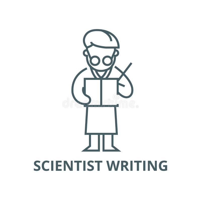 Scientifique écrivant la ligne icône, concept linéaire, signe d'ensemble, symbole de vecteur illustration stock
