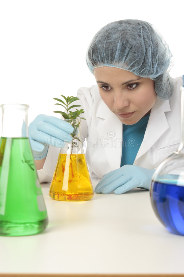 Scientifique avec la centrale dans le laboratoire de recherches photo stock