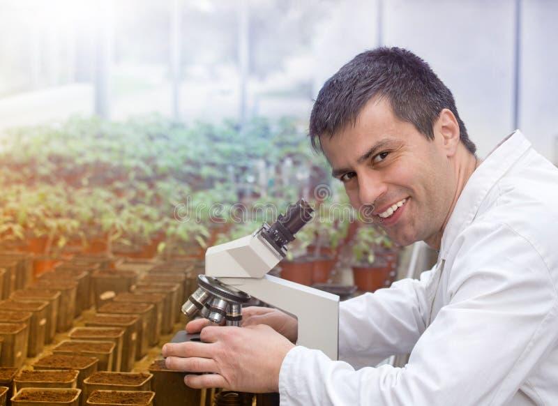 Scientifique avec le microscope dans la maison verte photos libres de droits