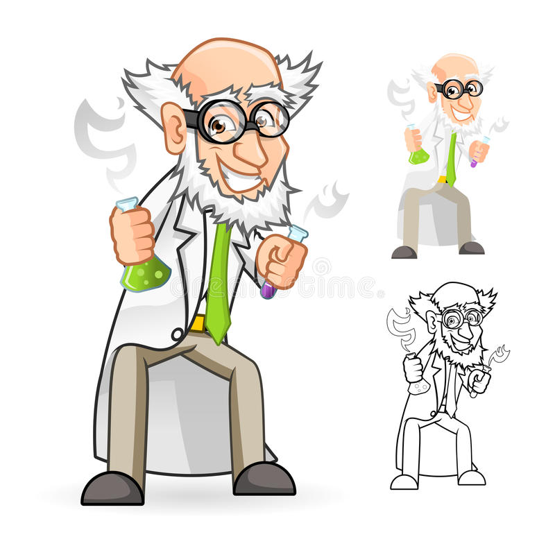 Scientifique Cartoon Character Holding un tube de becher et à essai avec se sentir grand illustration stock
