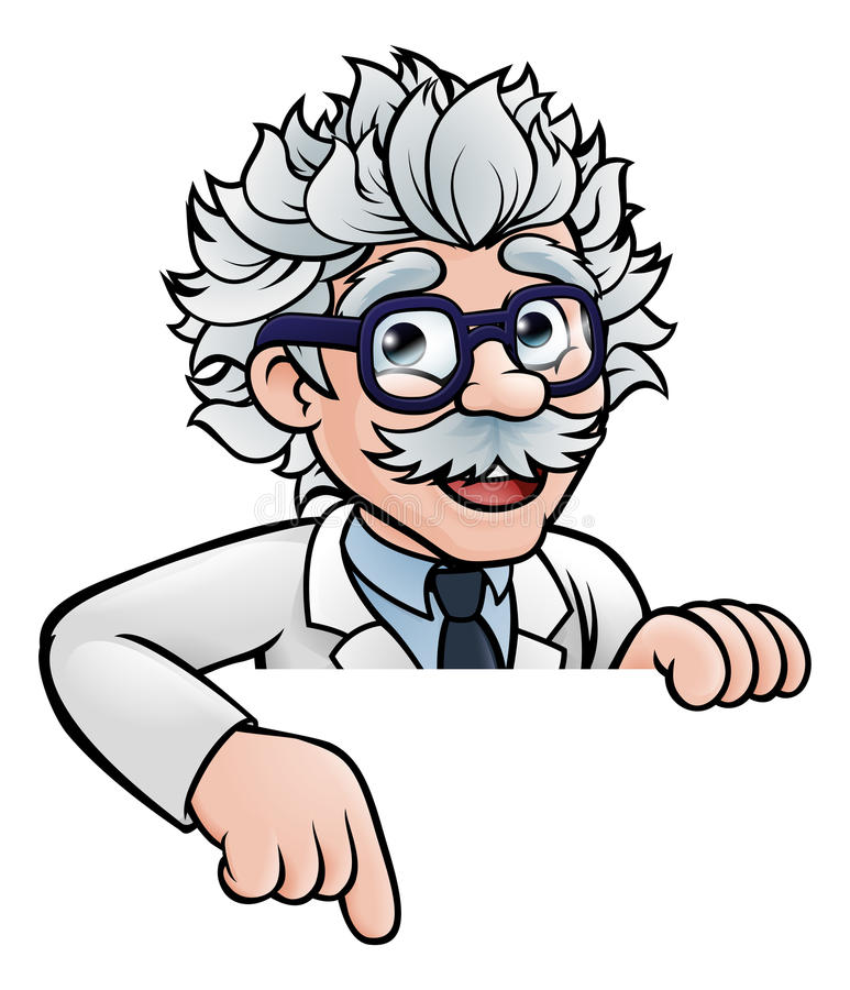 Scientifique Cartoon Character Pointing vers le bas illustration stock