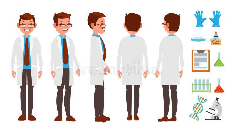 Scientifique classique Vector Expérience de la Science Recherche et exploration Technicien de laboratoire biologique Bande dessin illustration stock