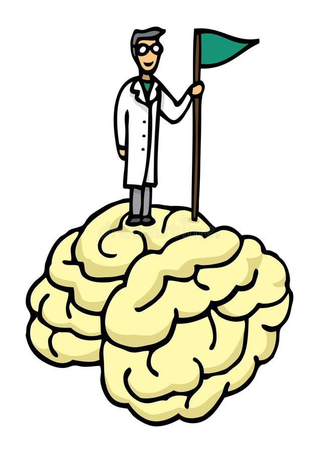 Scientifique conquérant le cerveau illustration de vecteur