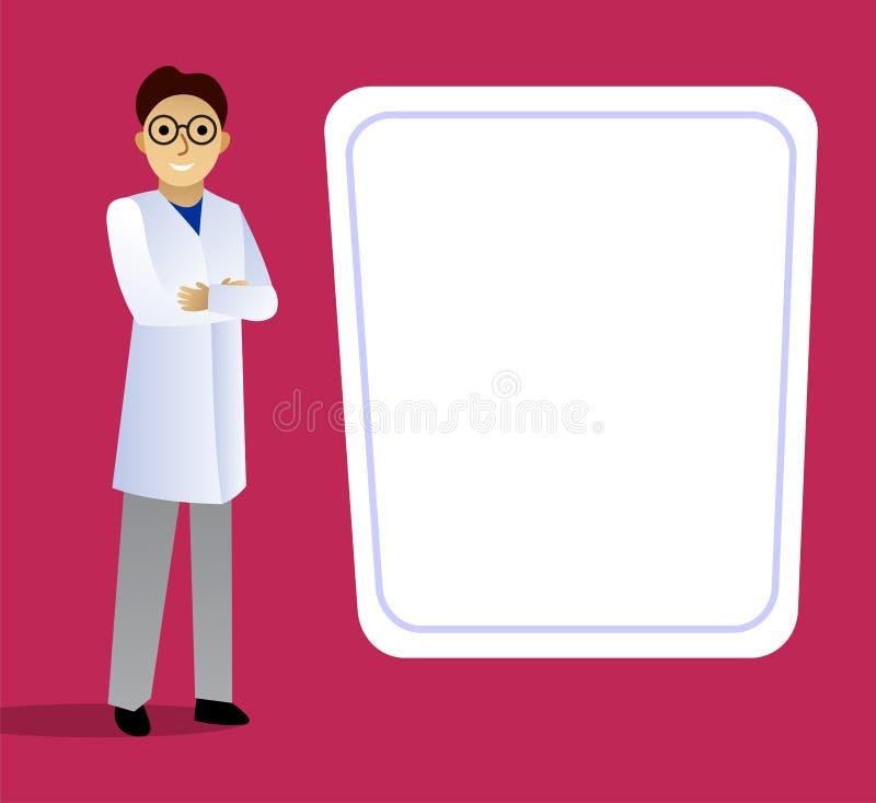 Scientifique dans une position blanche de manteau au tableau noir illustration de vecteur