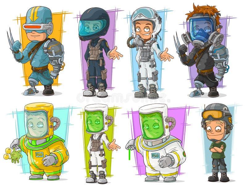 Scientifique de soldat de bande dessinée avec le jeu de caractères de masque illustration libre de droits