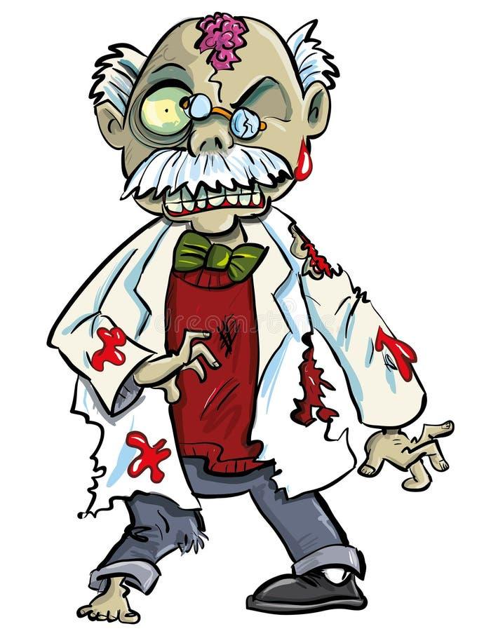 Scientifique de zombi de bande dessinée avec la représentation de cerveaux illustration stock