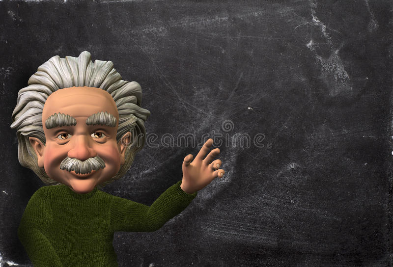 Scientifique Illustration, fond d'Einstein de tableau illustration stock
