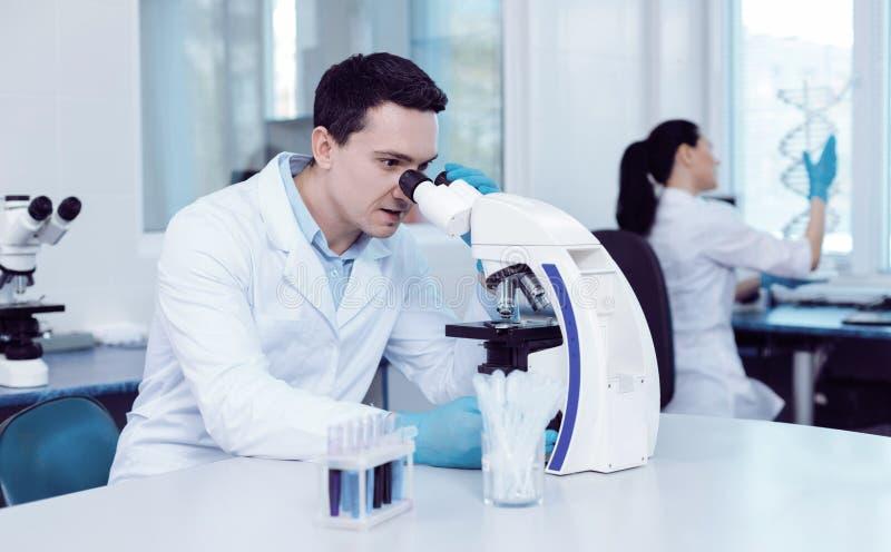 Scientifique masculin professionnel faisant une recherche images stock
