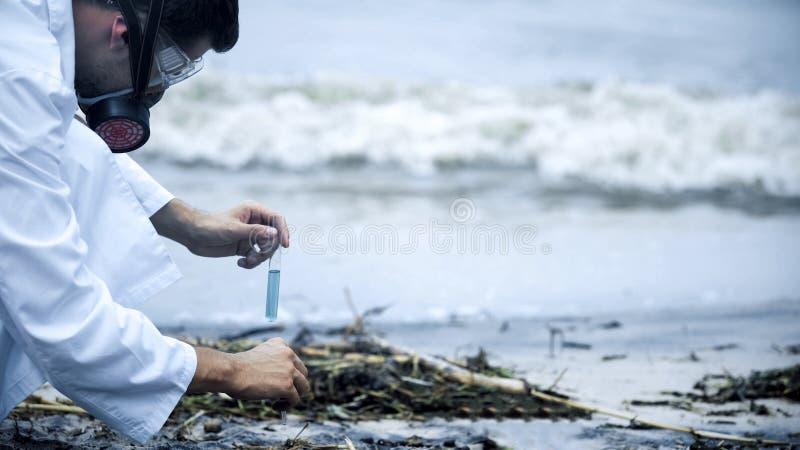 Scientifique pessimiste au sujet du résultat d'essai de l'eau, problèmes de santé provoqués par pollution images stock