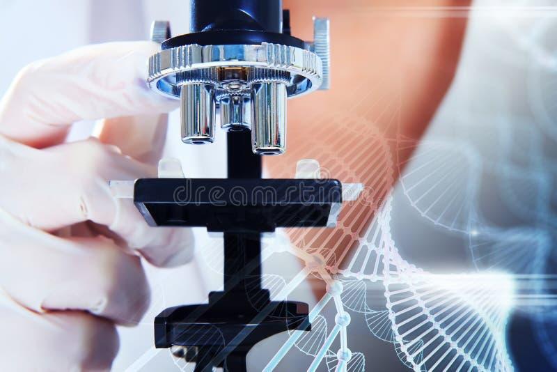 Scientifique regardant par un plan rapproché de microscope images stock