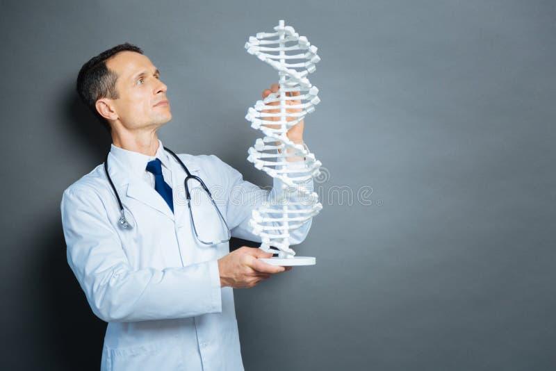 Scientifique sérieux se concentrant sur le modèle d'ADN photos libres de droits