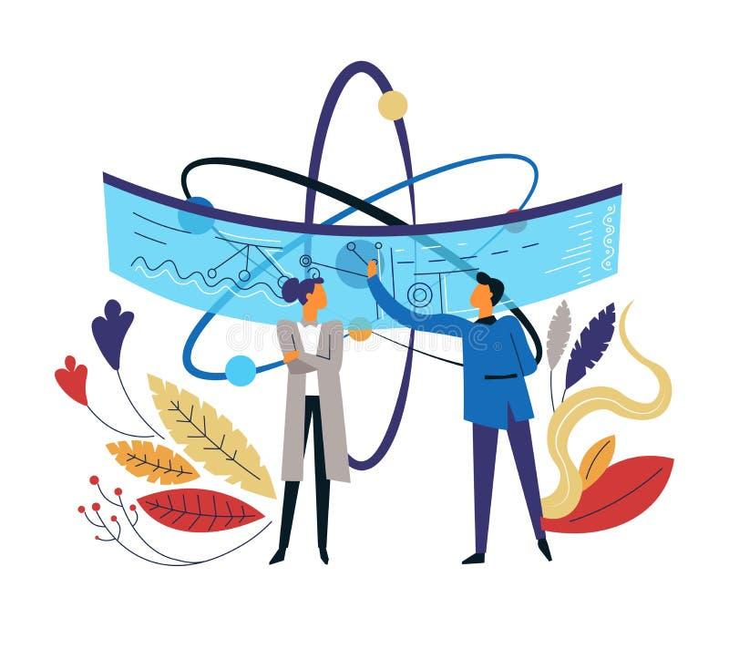 Scientifiques et usines d'atome et homme et femme d'icône d'isolement par plan illustration stock