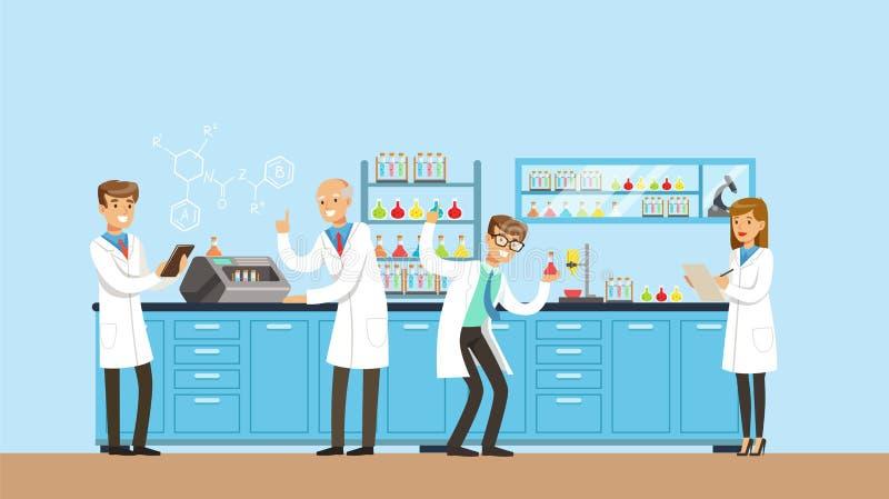 Scientifiques travaillant la recherche dans le laboratoire chimique, intérieur de laboratoire de science, illustration de vecteur illustration libre de droits