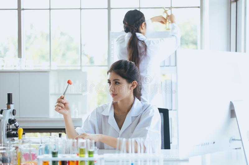 Scientist beautiful asian woman working with biopsy sample in laboratory. Scientist beautiful asian female working with biopsy sample in laboratory stock photography