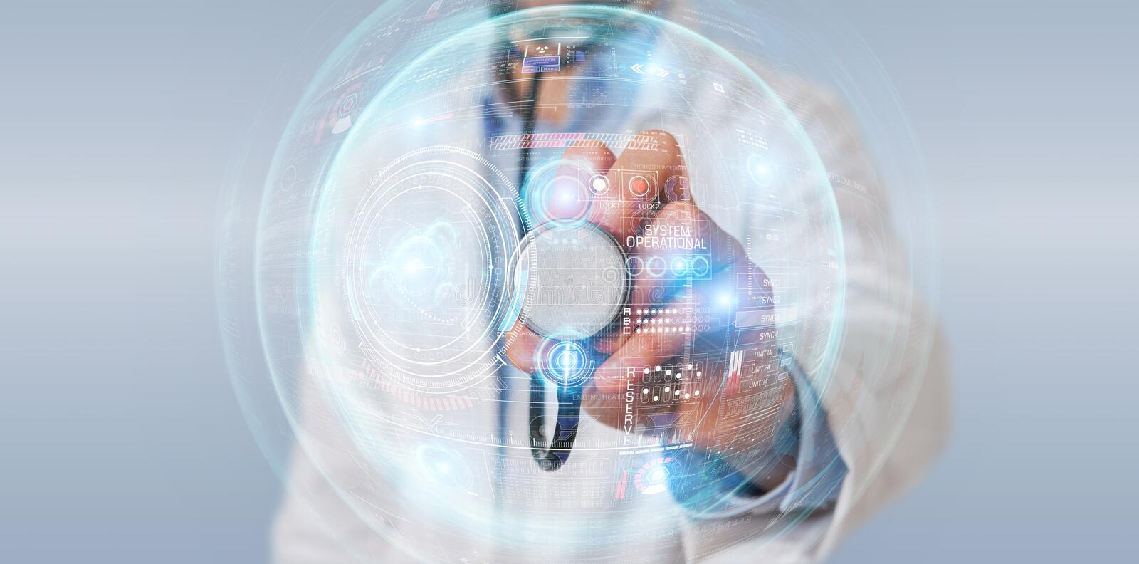 Scientist using digital technological interface with datas 3D rendering stock illustration