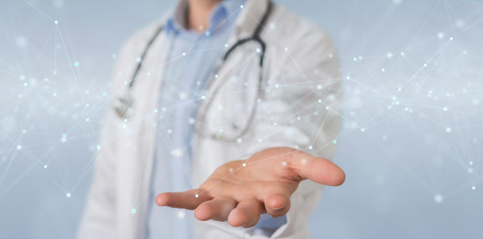 Scientist using floating digital network connections with dots and lines 3D rendering stock illustration