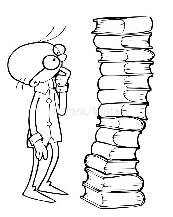 Scientist and books royalty free illustration
