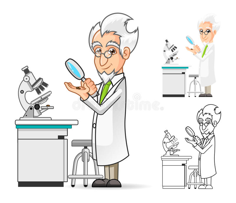 Scientist Cartoon Character Holding a Magnifying Glass with Microscope in The Background royalty free illustration