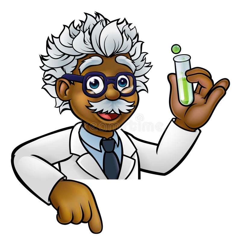 Scientist Cartoon Character Holding Test Tube. A cartoon scientist professor wearing lab white coat peeking above sign with a test tube and pointing at it stock illustration