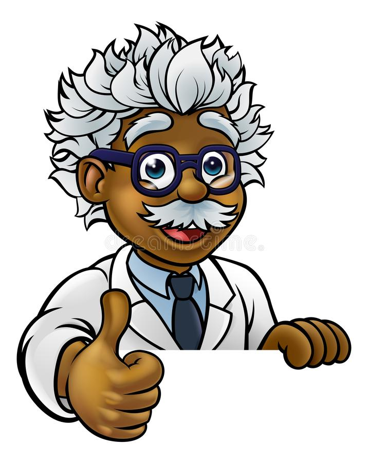 Scientist Cartoon Character Sign Thumbs Up. A cartoon scientist professor wearing lab white coat peeking above sign and giving a thumbs up stock illustration