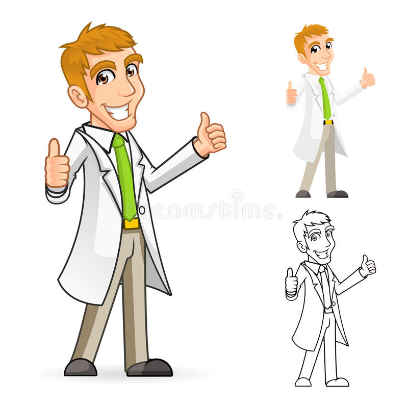 Character Design From The Ground Up Download : Scientist cartoon character with thumbs up arms stock