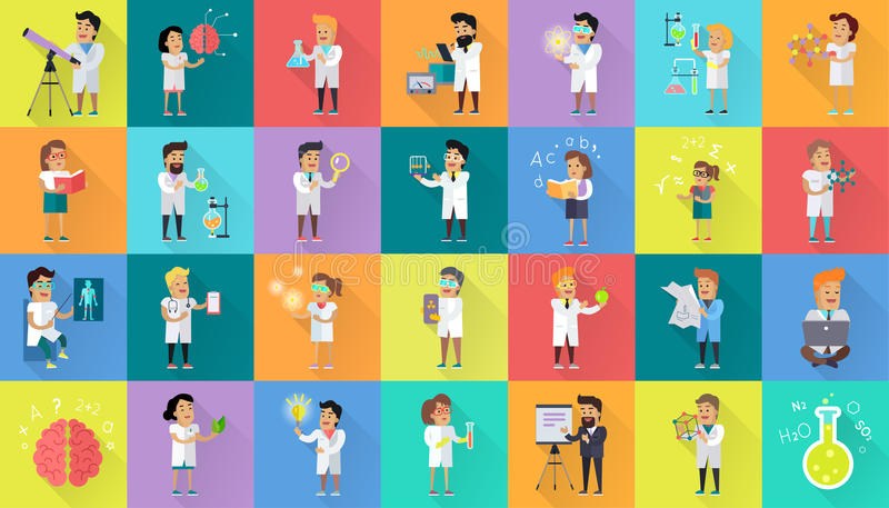 Scientist Character Collection royalty free illustration
