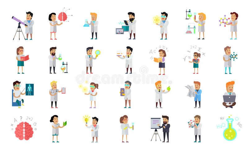 Scientist Character Collection stock illustration