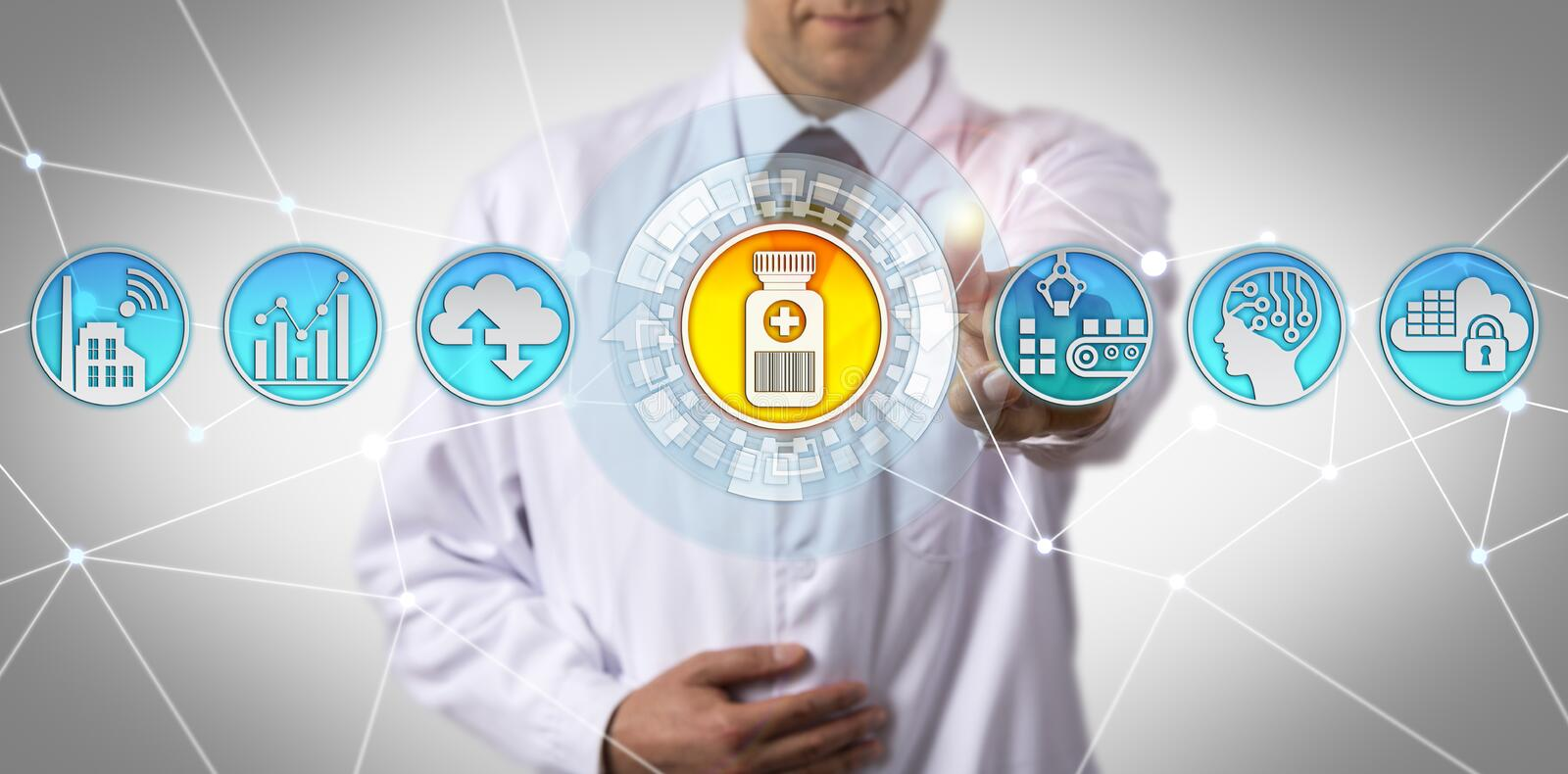 Scientist Checking Serialization In Supply Chain royalty free stock photos