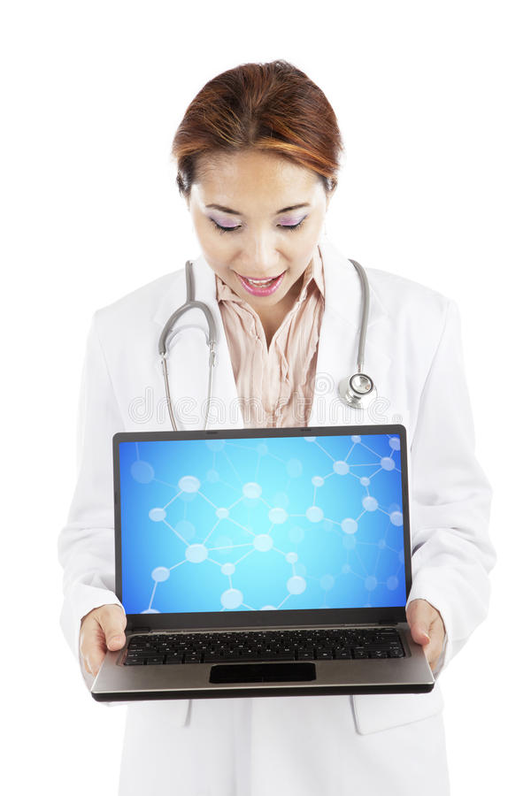 Scientist with chemical molecule on laptop. Young female scientist showing samples of chemical molecule on laptop computer. isolated on white stock image