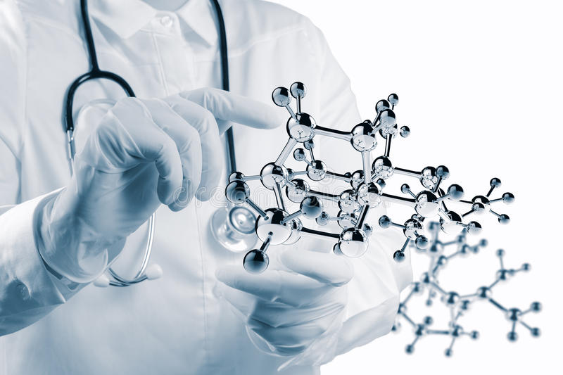 Scientist doctor hand touch virtual molecular structure stock photography