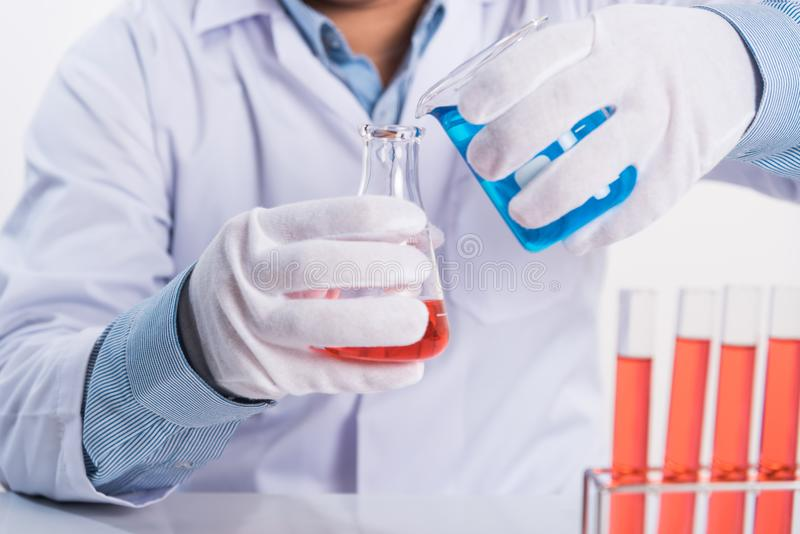 Scientist drop cemical into laboratory test tube on working table, science research concept.  royalty free stock images