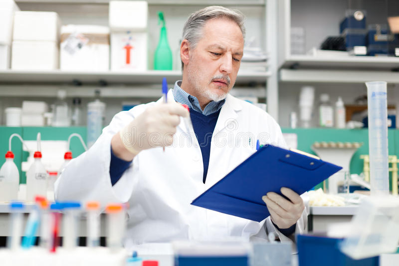 Scientist examining a test tube royalty free stock photos
