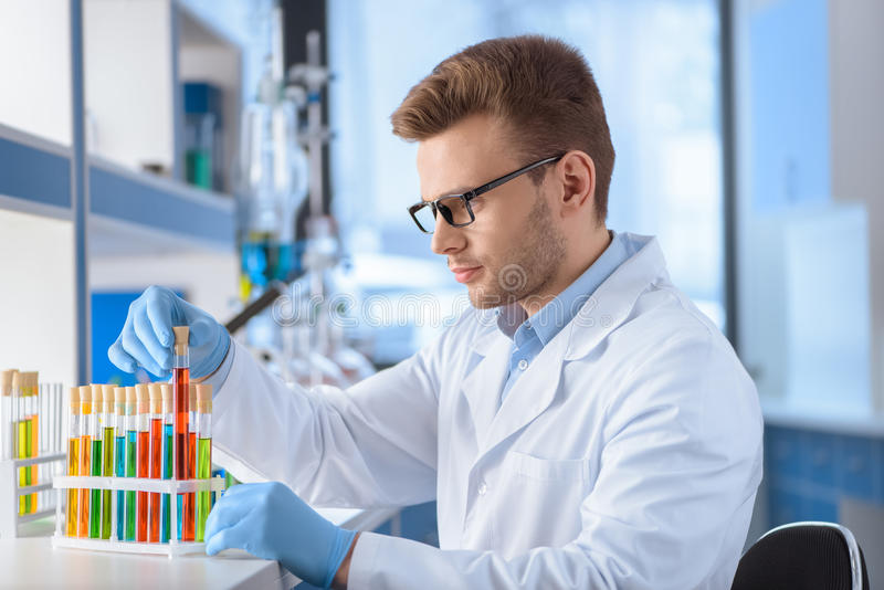 Scientist in eyeglasses working with test tubes in lab. Concentrated scientist in eyeglasses working with test tubes in lab royalty free stock photography
