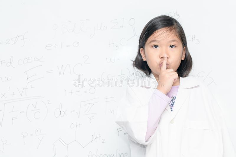 Scientist girl saying hush be quiet royalty free stock photos