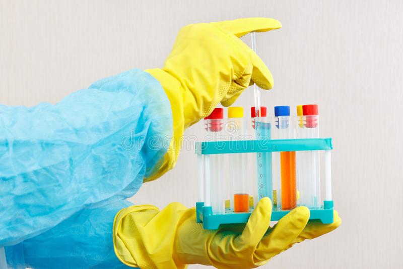 Scientist hands in rubber gloves is conducting chemical experiments in laboratory. Scientist hands in rubber gloves is conducting chemical experiments in the stock photos
